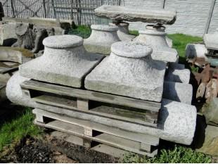Historische Granitsäule, 8 Stück, vor 1800 Jahr, Steinsäule Komplett -Set